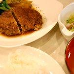 喫茶まるゆ - 自家製ハンバーグ定食(和風ソース)/ライス・サラダ・味噌汁付き