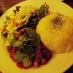 ファシュタ - 香菜とトマトのキーマカレー