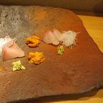 栩翁S - 五島の縞鯵と北海道の雲丹お造り4