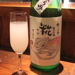 地酒喝采 かも蔵 - 獅子の里 糀 純米吟醸 おりがらみ 無ろ過生