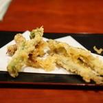 蕎麦切り屋 - 蛍烏賊・独活の芽・稚鮎の天ぷら