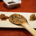蕎麦切り屋 - 右から蕗味噌・焼味噌・蕎麦味噌