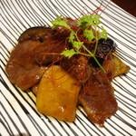 18708195 - 合鴨ロースと生麩と茄子の照焼き