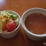 カフェ・ドゥ・トワ -         セットのサラダとスープ