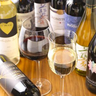 こだわりワインは常時30種類以上ご用意!