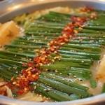 越後屋 - 京風白味噌もつ鍋。ミニコース2000円