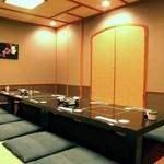 海賓亭 - お座敷個室は、掘り炬燵式でゆったり。各種ご宴会など、くつろぎのひと時をご堪能下さい。