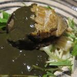 18771852 - 活き蝦夷鮑のステーキ オリジナル肝ソースで