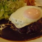 レストラン山猫軒 - ハンバーグステーキ1200円♪但馬牛と国産豚のブレンド♪ランチはライス大盛りサービス♪