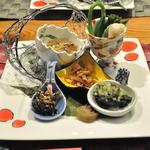 18788857 - 夕食 和食コース 1.前菜 山菜ディップ、冷汁、行者大蒜、浅葱、瓢干し