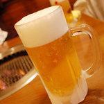 焼肉ふじ - キンキンに冷えた生ビール