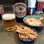 支那そば めでた屋 - ビール(500円)+チャーシュー(400円)+サービスメンマ