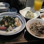 18797377 - チキナーチャンプルー、モズクとモヤシのチャンプルー、ニガナの白和え、ジーマミー豆腐