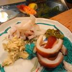かまくら小花寿司 - いかげそと蛸頭を山葵2種で