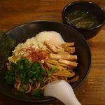麺や 克 - 油そば+温泉玉子+鶏スープ