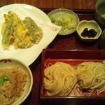 天ぷら 左膳 - 野菜天ぷらとそばのセット