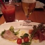 Irupojitano - 瀬戸内の恵 前菜3種盛り680円 ブラッドオレンジジュースとビール