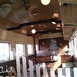 ファースト・トレイン - 店内は車内、天井の扇風機、網棚、