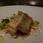 朱藏 - 太刀魚のソテーパン粉載せ、きのこソースアップ