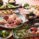 【鉄板焼鳥】『三味五感コース』お料理のみコース〜お料理全10品〜