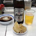 天麩羅処ひらお - ビールです。中瓶500mlが400円です。