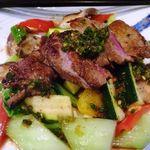 星期菜 - 牛ロースのステーキ山椒ソース(980円)・・お肉は柔らかいのですが、唯一好みでは無かったですね。