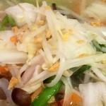 華楽 - タンメンは野菜たっぷりでにんにくチップ(焦がしにんにく)が振り掛けられています。