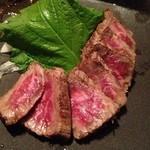 お好み酒家 ん - 牛肉のタタキ。