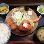 天兼 - ミックスフライ定食(2013.5.12)