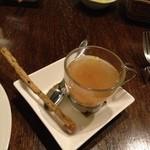 18902640 - 黒ごまのグリッシーニと生ハムと豚肉のスープ仕立
