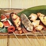 """貝、磯料理 海然 - 色んな焼魚を食べたい人必見 """"魚串盛合せ"""""""