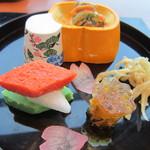 18923043 - ふぐの煮こごり、左は野菜のペースト、人形の中は辛子味噌和え