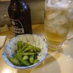 味好亭 - ホッピーセットとお通しの枝豆