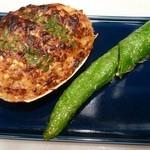 勢揃坂 蕎 ぎん清 - ぎん清の名物料理、大あさりのそば味噌焼き!