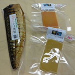 岩城の燻製屋チャコール - さば燻製、チェダーチーズの燻製、モッツァレラチーズの燻製。