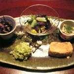 菜懐石 仙 - グリーンピースと白木耳の和え物等、他全5品