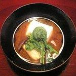 菜懐石 仙 - ぜんまい、菜の花、しめじ、松茸を使った赤出汁
