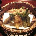 菜懐石 仙 - アピオスと柿木茸の掻き揚げ等、揚げ物類全4品
