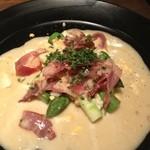 19004924 - 筍のカルパッチョ。ゆで卵を添えて、サラダ・ニソワーズ風。