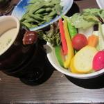 紅れや - 京野菜と緑黄色野菜のバーニャカウダ(\880-)