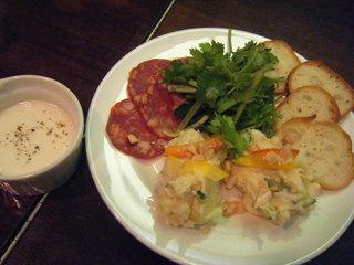ネコノヒタイ - イベリコリョリソー&チーズとはんぺんのディップ&タイ風ポテトサラダ(酔ぅ喰ぅバル)