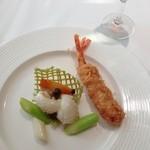 銀座アスター - 大海老と甲いかと夏野菜の炒め物