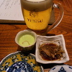 別亭 神田新八 - 先付二品と生ビール