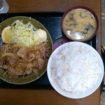 Kashiwaya - 豚肉生姜焼定食ライス特大