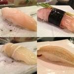 名登利寿司 - ミル下、鯵、イカの昆布〆、鱚の湯引き