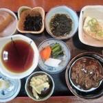19046011 - 天ぷら定食(上)¥1300の「小鉢etc」