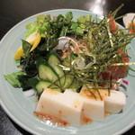 19058647 - 白子豆腐とふぐ皮のサラダ