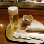 まぐろ堂 博多みつわ - 19時30分前なら、生ビール250円と突出し