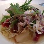 トラットリア スペランツァ エッセ - 有機野菜のスープ、大根、ごぼう、人参、セロリ、パプリカ、みずな、カステルフランコ、トレビス、赤ピーマンetc