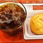 スリーコンカフェ - アイスコーヒーMサイズと100円シュークリーム